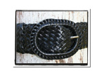 Ladies Belt - Alissa-Ladies Plaited Leather Belt - Alissa in Classic Black