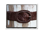 Ladies Belt - Alissa-Ladies Plaited Leather Belt - Alissa in Rich Brandy