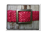 Ladies Belt - Amanda-Ladies Plaited Leather Belt - Amanda in Hot Pink