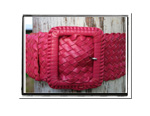 Ladies Belt - Ava-Ladies Plaited Leather Belt - Ava in Hot Pink