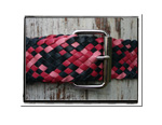 Ladies Belt - Bonny-Bush Babes Ladies Plaited Leather Belt - Bonny in Navy, Hot Pink & Cotton Candy