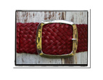 Ladies Belt - Holly-Bush Babes Ladies Plaited Leather Belt - Holly in Ruby Red