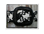 Ladies Belt - Jess-Bush Babes Ladies Plaited Leather Belt - Jess in Black & White Check