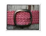 Ladies Belt - Jo-Bush Babes Ladies Womens Plaited Leather Belt Pink