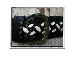 Ladies Belt - Kath-Bush Babes Ladies Plaited Leather Belt Black and White