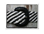 Ladies Belt - Kelly-Bush Babes Ladies Plaited Leather Belt Black and White Stripe