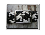 Ladies Belt - Lisa-Bush Babes Ladies Plaited Leather Belt Black and White