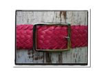Ladies Belt - Lisa-Bush Babes Ladies Plaited Leather Belt Pink