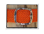Ladies Belt - Holly-Bush Babes Ladies Plaited Leather Belt - Holly in Funky Orange