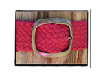Ladies Belt - Jo-Bush Babes Ladies Plaited Leather Belt - Jo in Hot Pink