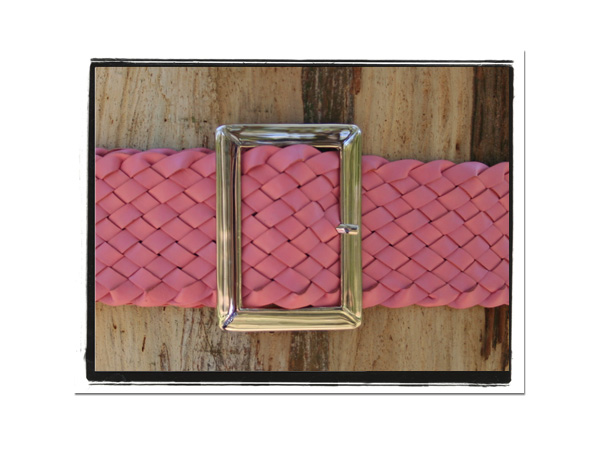 Ladies Belt - Kylie-Bush Babes Ladies Plaited Leather Belt Pink