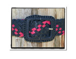 Ladies Belt - Rebecca-Bush Babes Ladies Plaited Leather Belt Navy and Hot Pink
